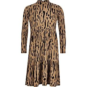 Robe mi-longue à smocks beige impriméléopard pour fille