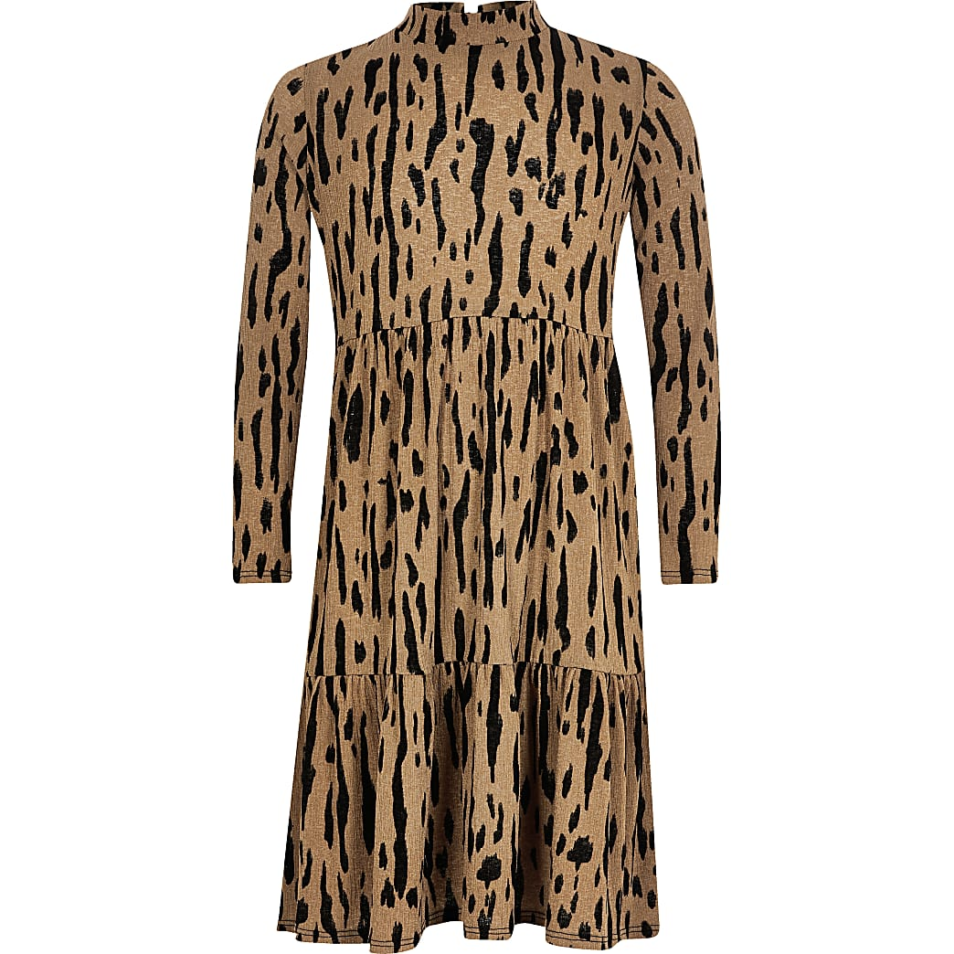 Beige gesmokte midi-jurk met luipaardprint voor meisjes