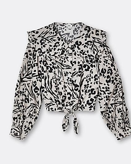 Girls beige leopard tie front shirt
