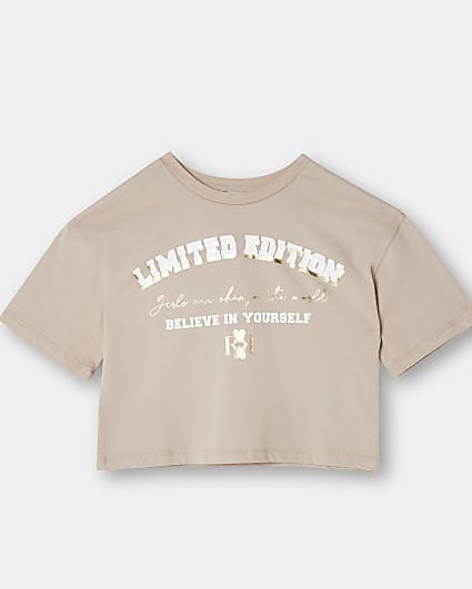 Girls beige 'Limited Edition' print t-shirt