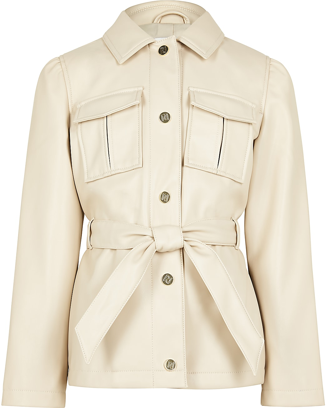 Girls beige longline belted jacket