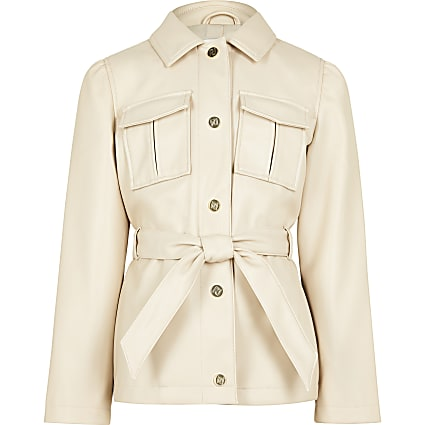 Girls beige longline belted jacket