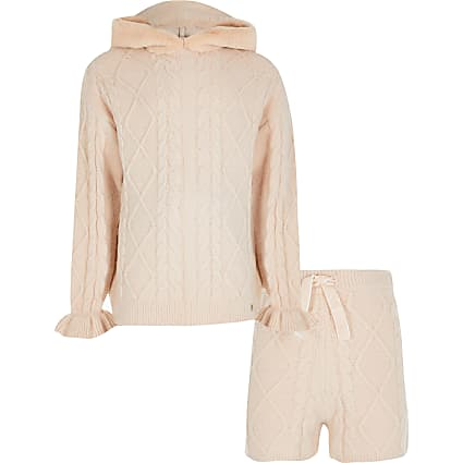 Girls beige lounge hoodie and shorts outfit
