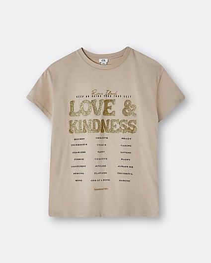Girls beige 'Love & Kindness' t-shirt