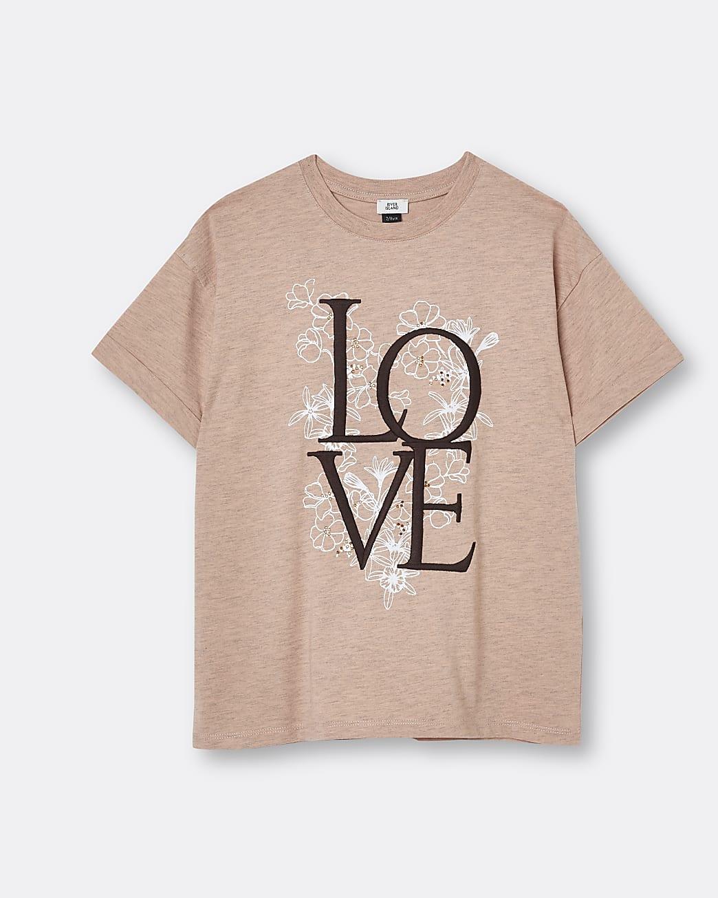 Girls beige 'Love' graphic t-shirt