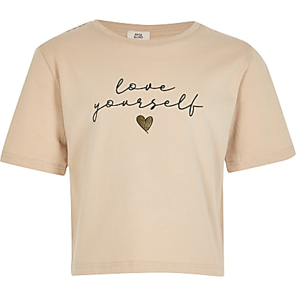 Girls beige 'Love Yourself' print t-shirt
