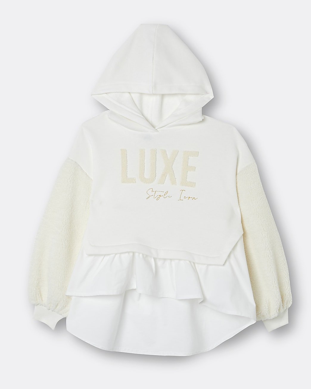 Girls beige 'Luxe' borg hybrid sweatshirt