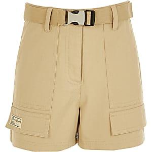 Girls beige Maison Riviera utility shorts
