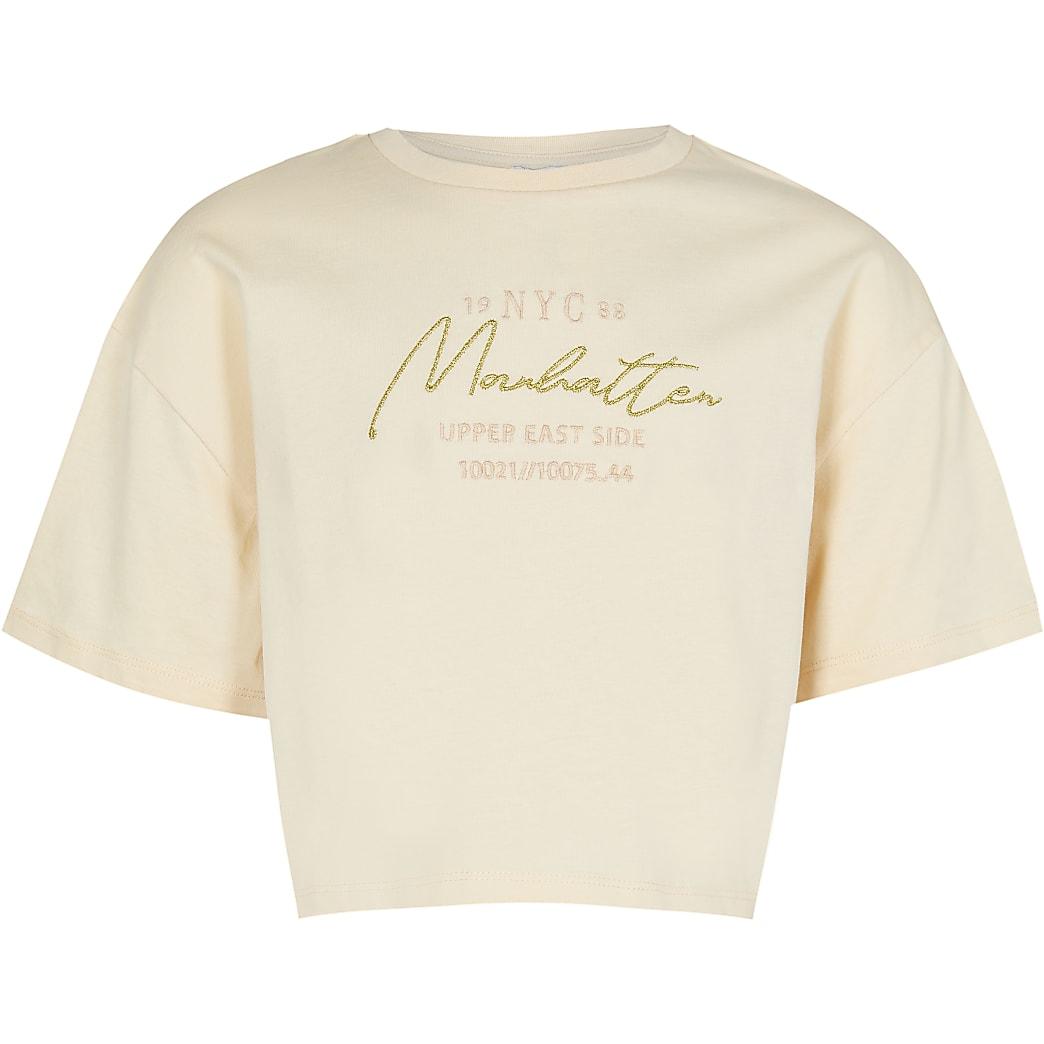 Girls beige New York t-shirt