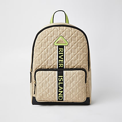 Girls beige nylon quilt backpack