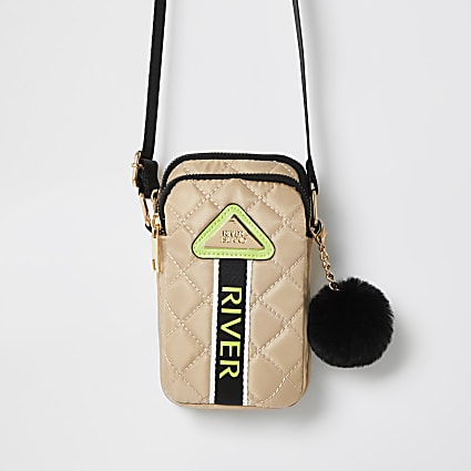 Girls beige nylon quilted cross body bag