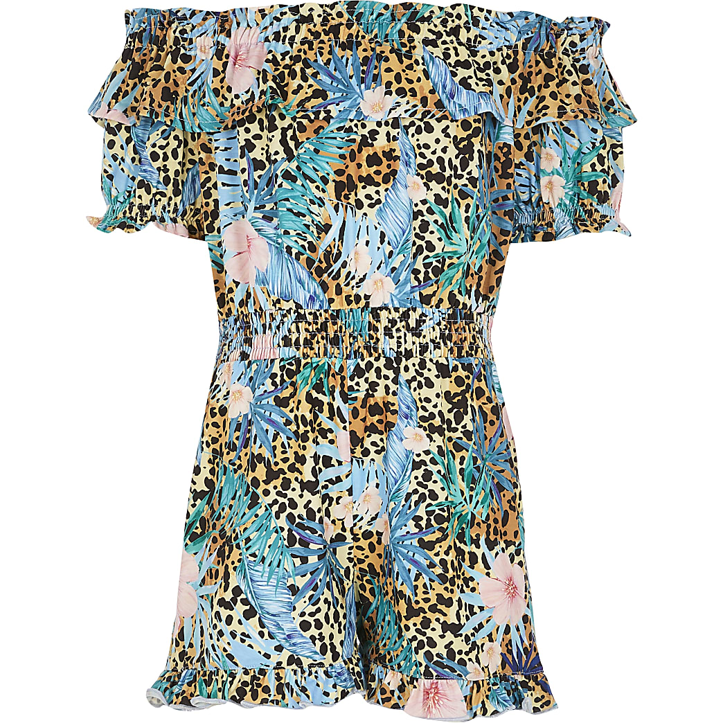 Girls Beige OG Tropical Animal Playsuit