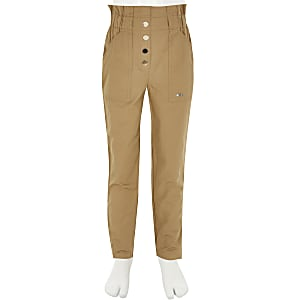 Girls beige paperbag cargo trousers