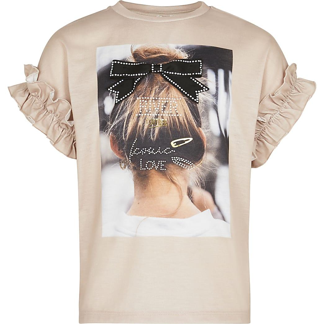 Girls beige photographic print t-shirt