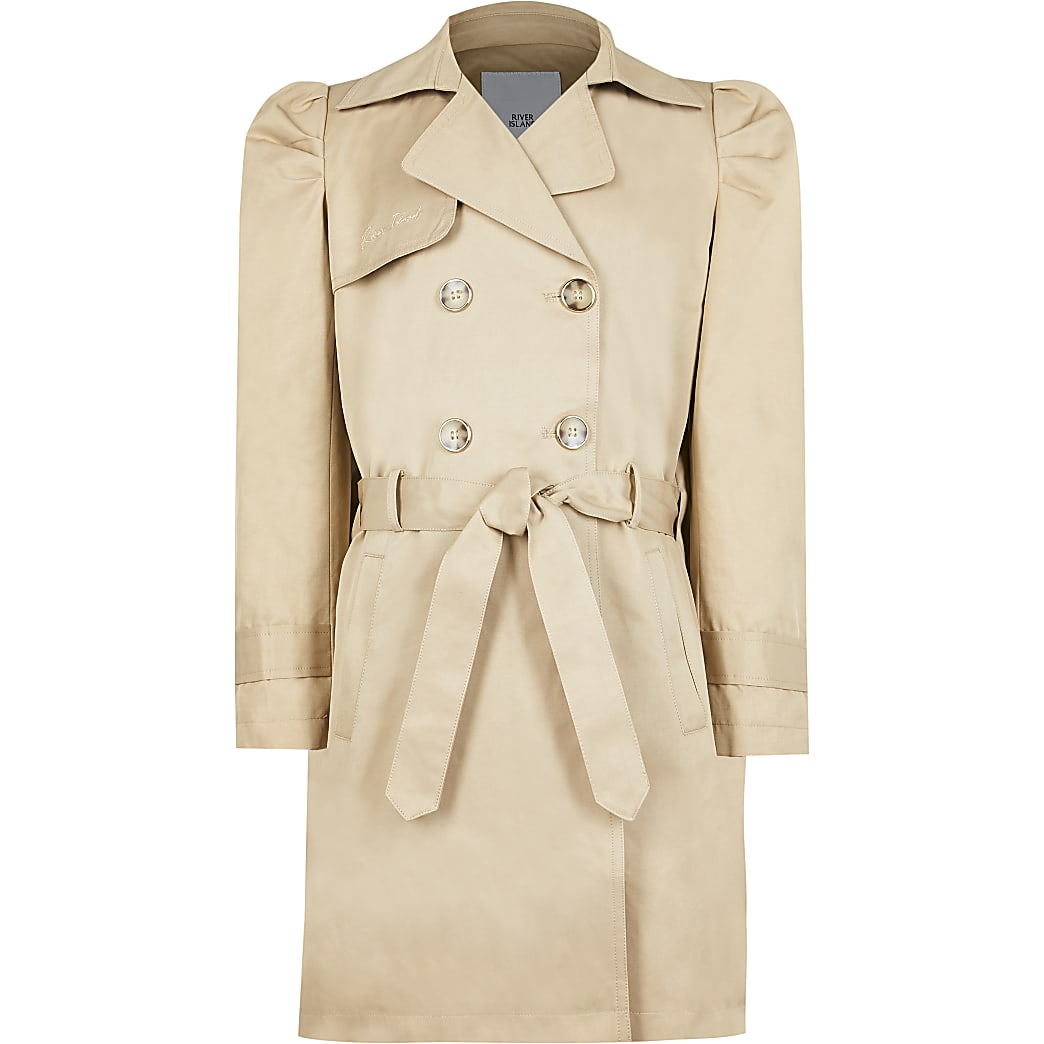 Girls beige pleated back trench coat
