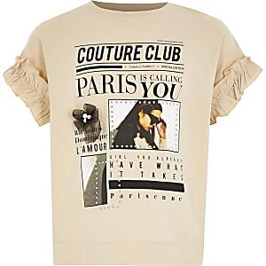 Beige T-shirt met print en ruches aan de mouwen voor meisjes