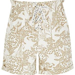 Beige shorts met print en veters voor meisjes