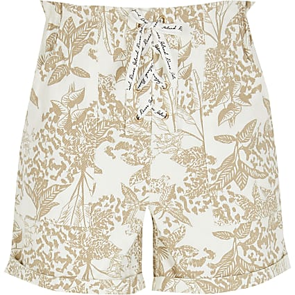 Girls beige printed lace-up shorts