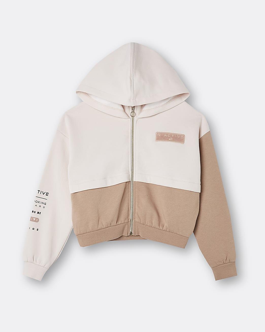 Girls beige RI active colour block hoodie