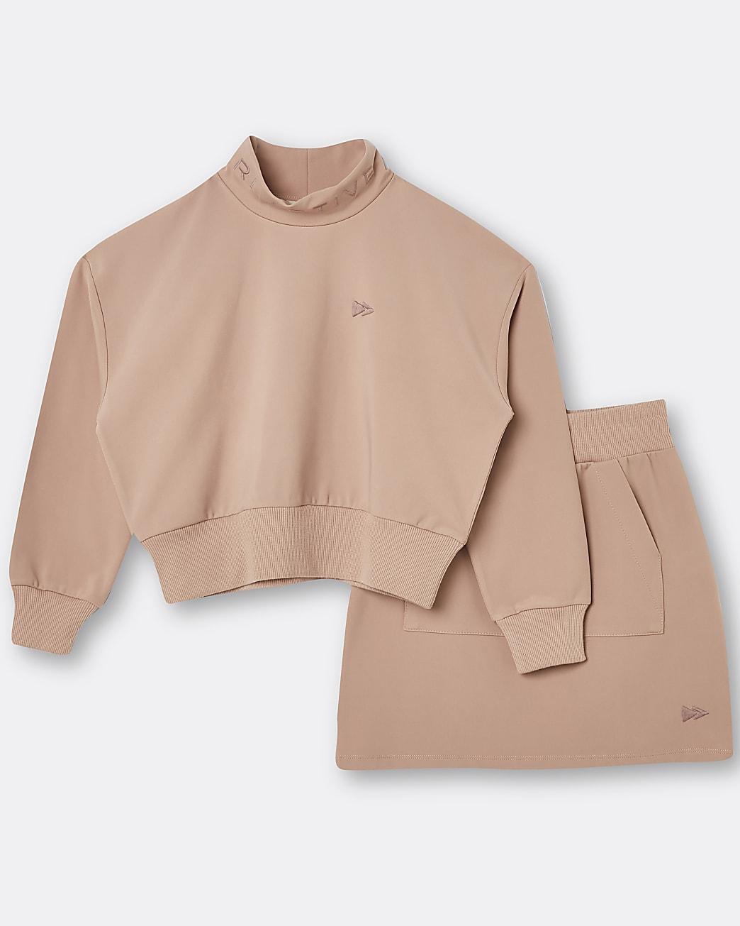 Girls beige RI Active sweatshirt and skirt