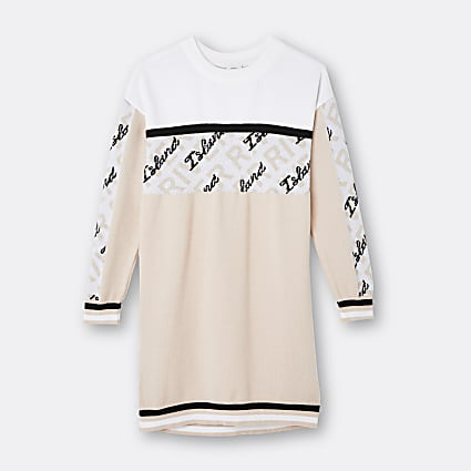 Girls beige RI colour block jumper dress