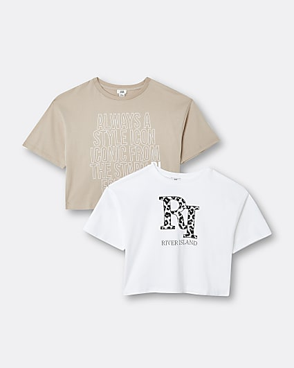 Girls beige RI leopard print t-shirt 2 pack