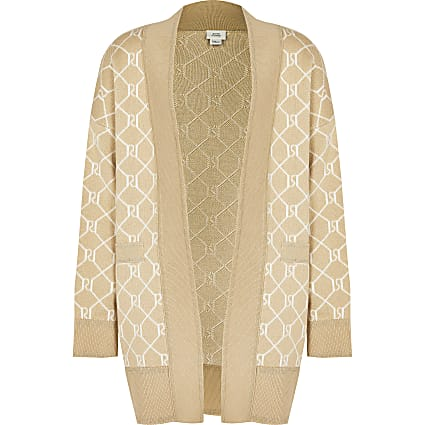 Girls beige RI monogram cardigan