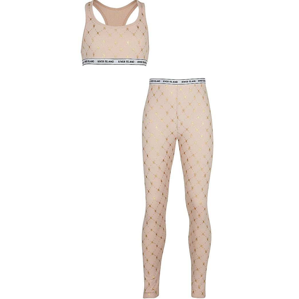 Girls beige RI monogram crop top and leggings