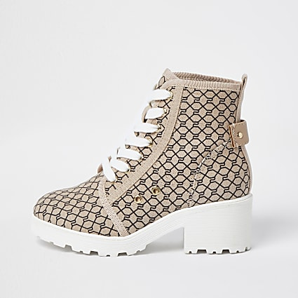Girls beige RI monogram lace up boots