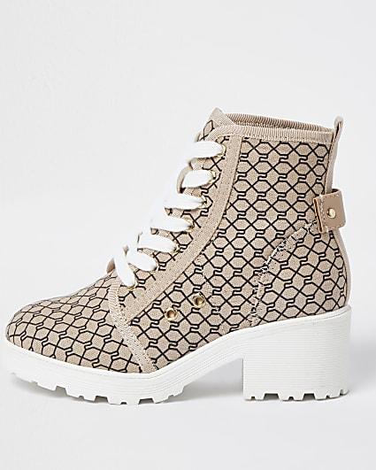 Girls beige RI monogram lace up boots