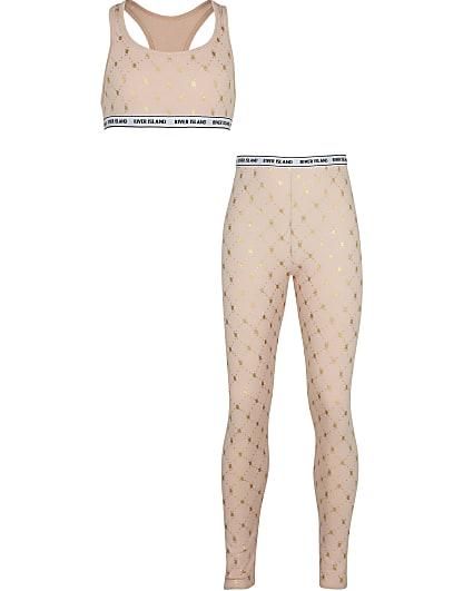 Girls beige RI monogram leggings set