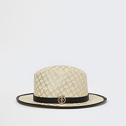 Girls beige RI monogram straw hat