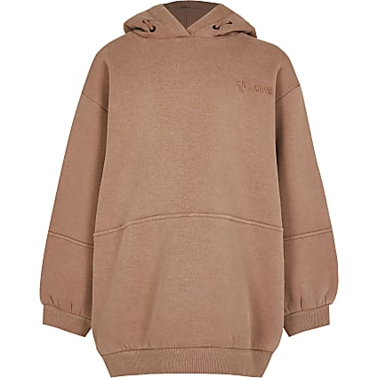 Girls beige RI One long line hoodie