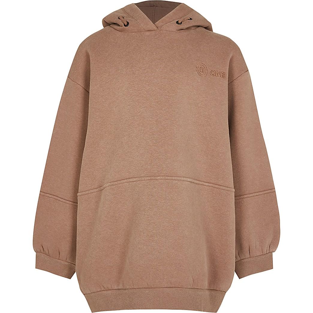 Girls beige RI One long line hoodie