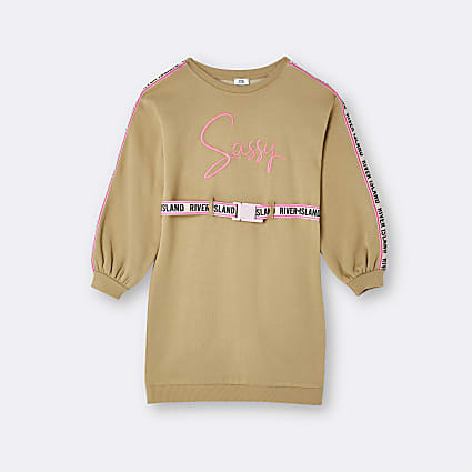 Girls beige RI 'Sassy' belted sweater dress