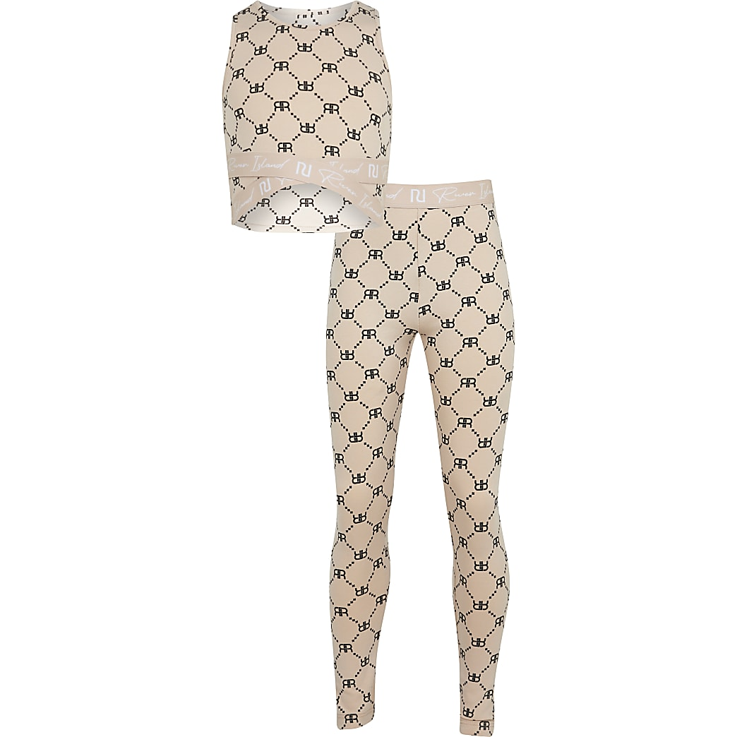 Girls beige RI top and leggings outfit