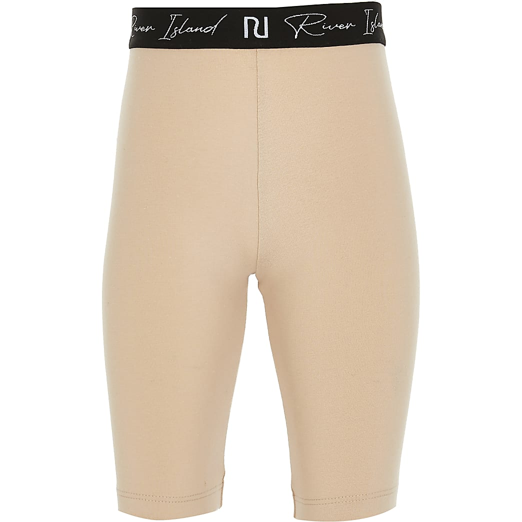 Girls beige RI waistband cycling shorts