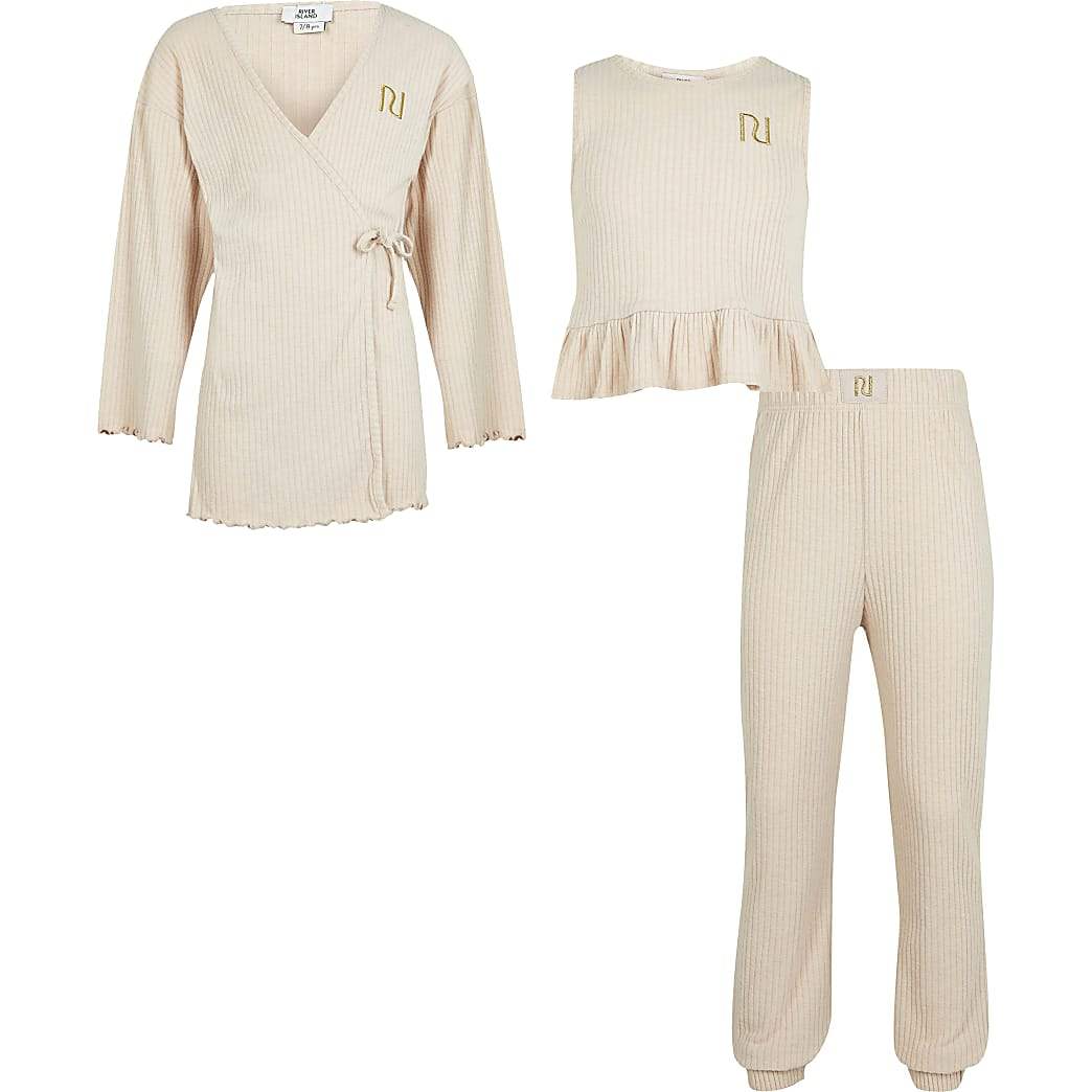 Girls beige ribbed loungewear 3 piece set