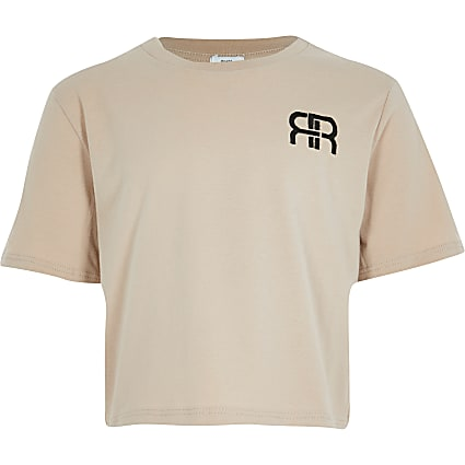 Girls beige RIR crop t-shirt