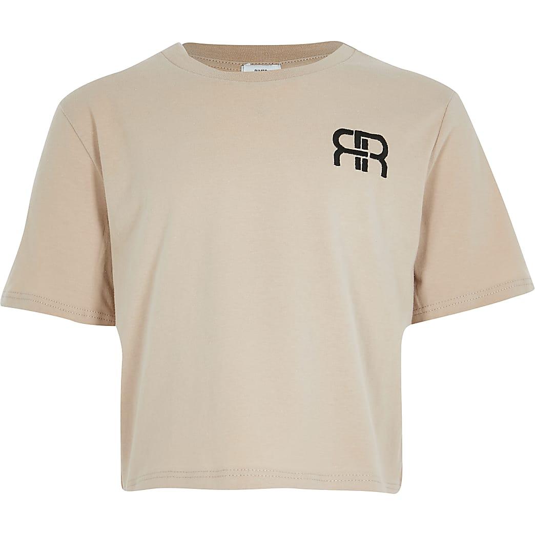 Girls beige RIR crop t-shirt