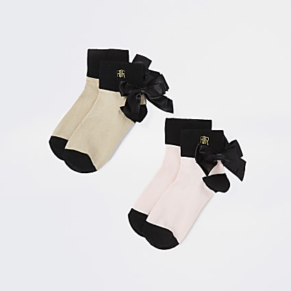 Girls beige RIR embroidered bow socks 2 pack