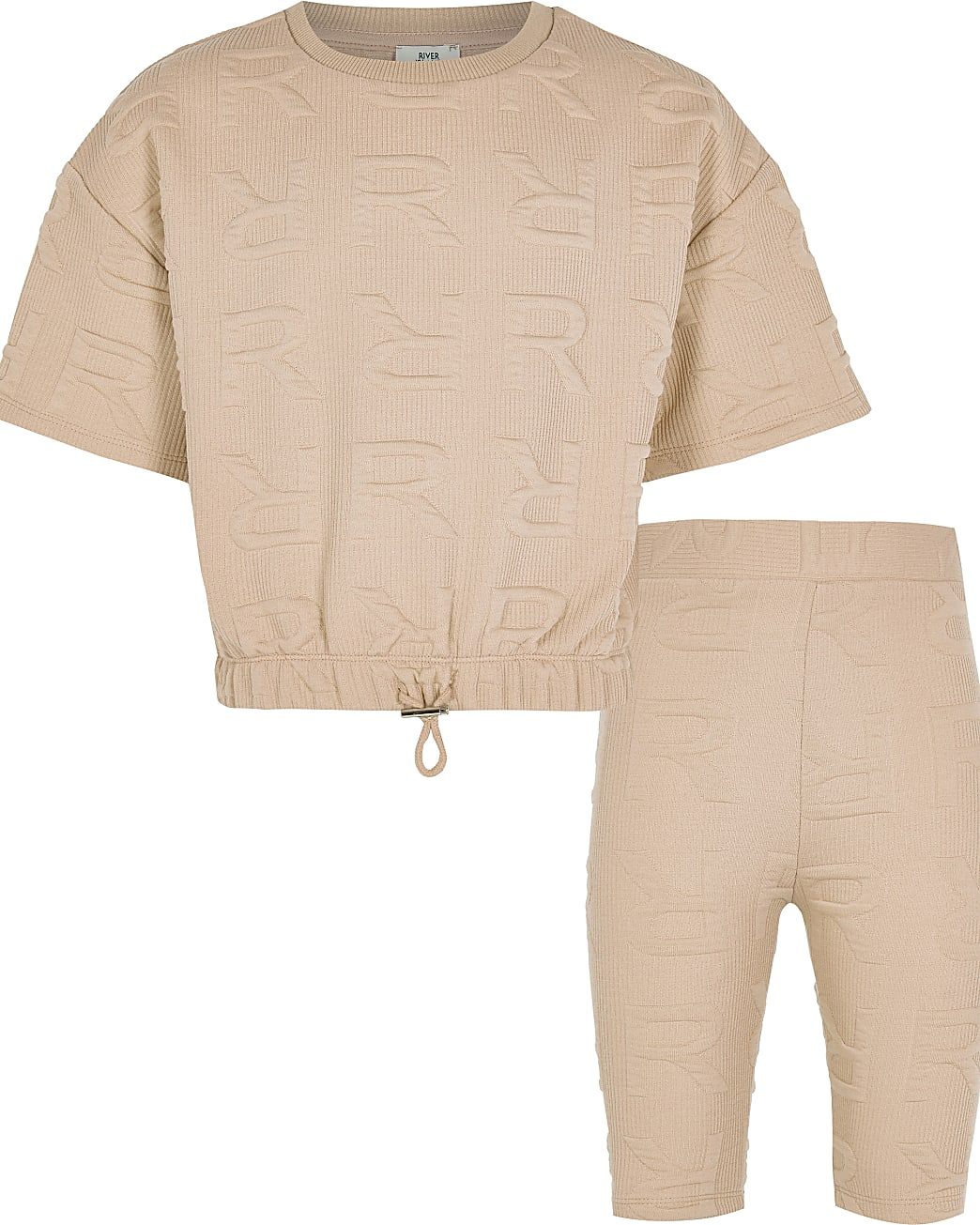 Girls beige 'RR' embossed shorts outfit