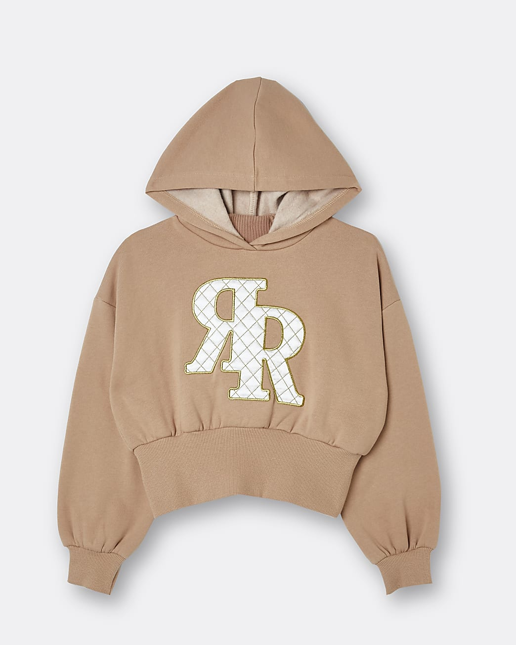 Girls beige RR quilted hoodie