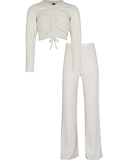 Girls beige ruched flared trouser outfit