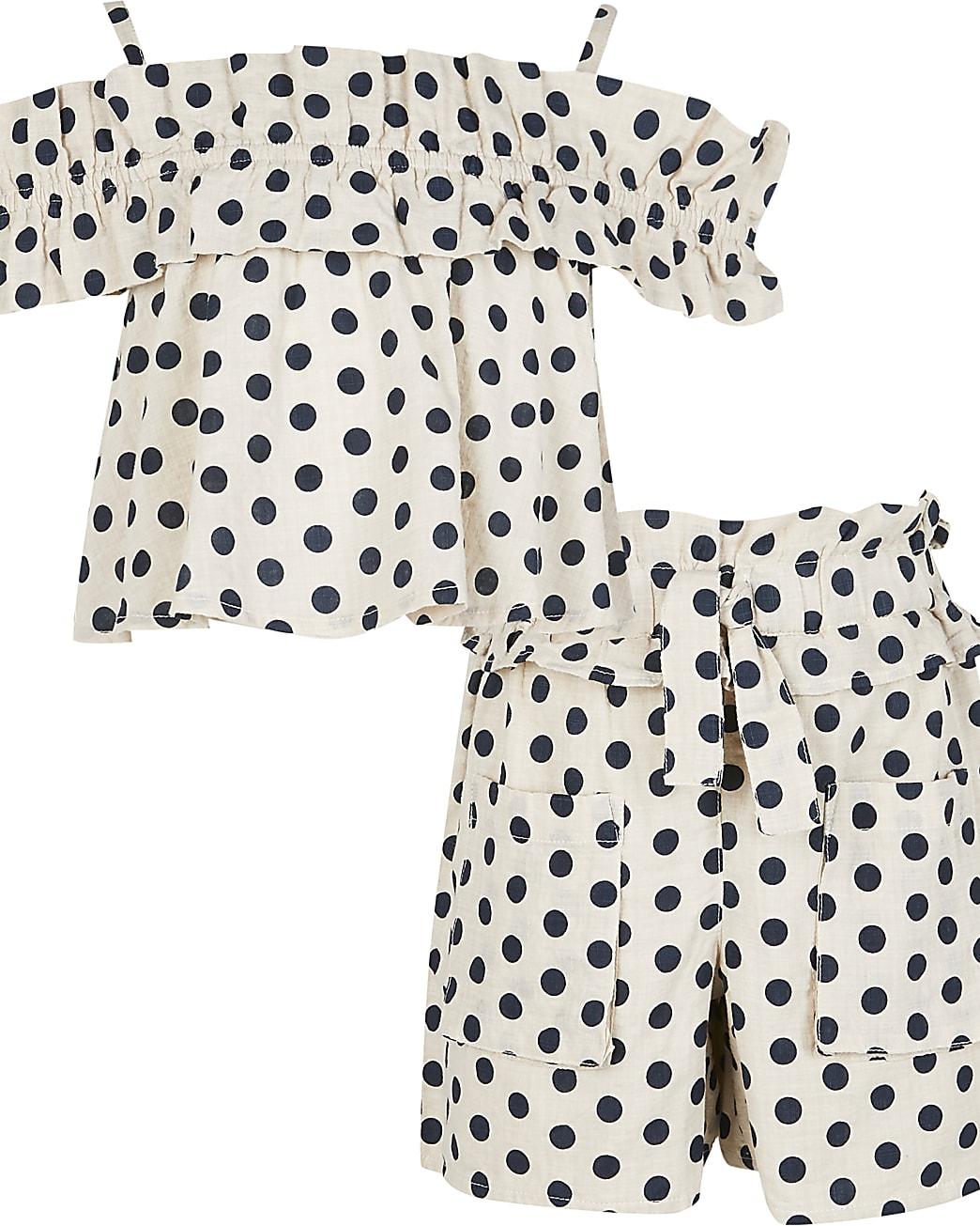 Girls beige ruffle bardot spot shorts set