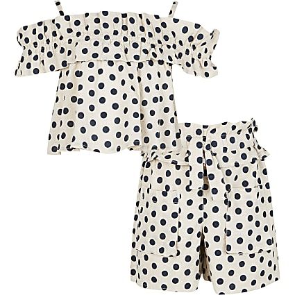 Girls beige ruffle bardot spot shorts set