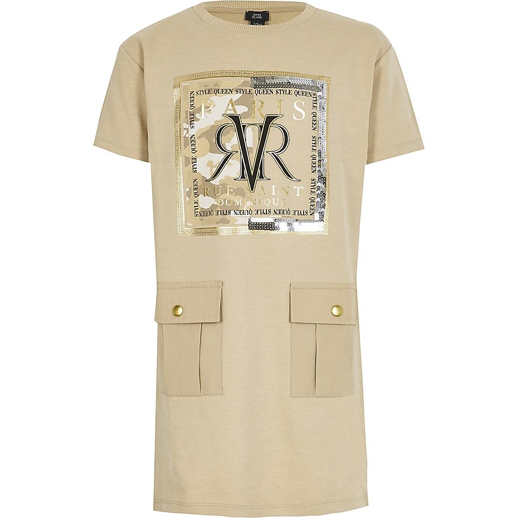 Girls beige RVR T-shirt dress