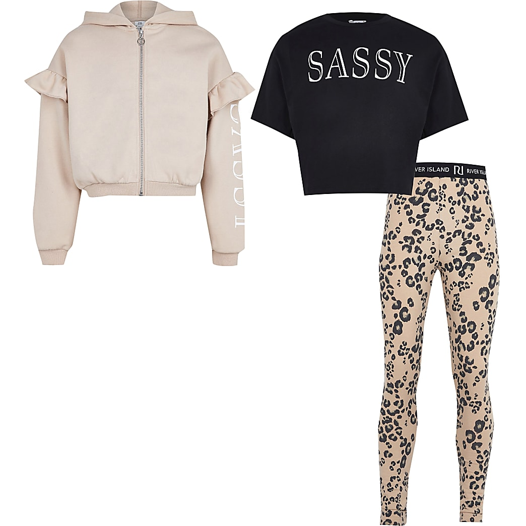 Girls beige 'sassy' 3 piece hoodie outfit