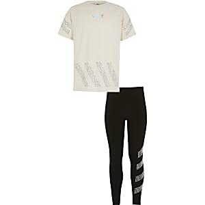 Beige outfit met T-shirt met 'Sassy'-print en siersteentjes voor meisjes