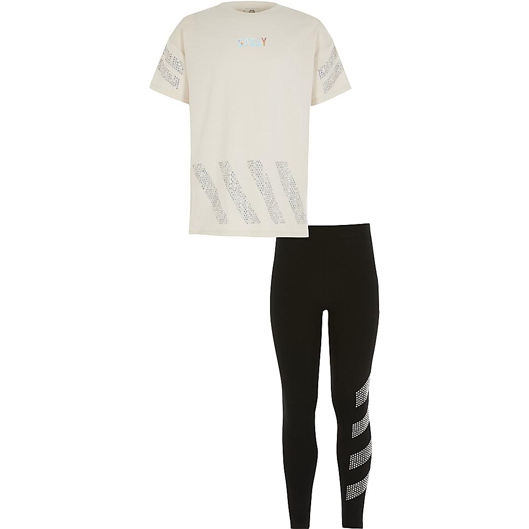 Girls beige 'Sassy' diamante T-shirt outfit